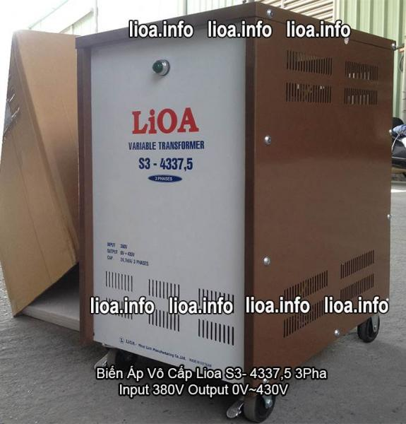 Biến Áp Vô Cấp Lioa S3-4337,5 3 Pha Công Suất 24,7kVA Điện Vào 380V Điện Ra 0V-430V